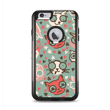 The Vector Cat Faced Collage Apple iPhone 6 Plus Otterbox Commuter Case Skin Set