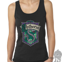 Slytherin Crest #2 Fullcolor on Female tank (Gildan Softstyle junior 64200L)