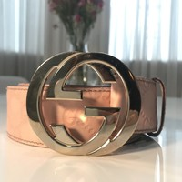 Gucci Signature Leather Belt, Pink