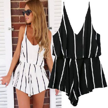Women's Fashion Cotton Stripes Spaghetti Strap One-piece Shorts Jumpsuit [5013301124]