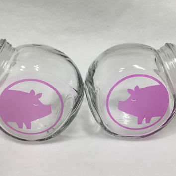 Tinted etched glass salt and pepper, parmesan, crushed red pepper shakers, sandblasted, pigs, large restaurant size, lidded round jars