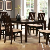 A.M.B. Furniture & Design :: Dining room furniture :: Small Dinette Sets :: Espresso Finish sets :: 7 pc Norwalk collection espresso finish wood dining table set with wide slatted backs and fabric seats