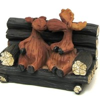 Moose Couple On Bench
