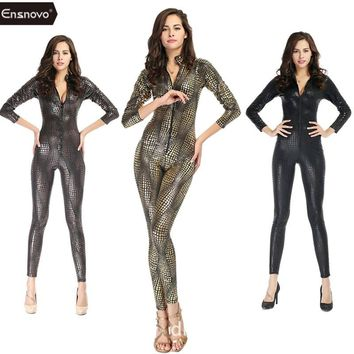 Ensnovo One Piece Shiny Metallic Snake Catsuit Zentai Costume Long Sleeve Front Zipper Bodysuit Snakeskin Unitard Full Body Suit