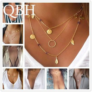 Hot Fashion Multilayer Long Tassel Feather Leaf Coin Clavicle Pendants Necklace Punk Collier Chain Collares mujer Bijoux Jewelry