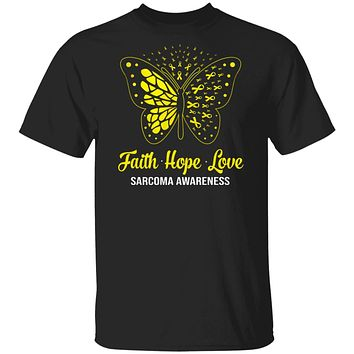 Faith Hope Love Yellow Butterfly Sarcoma Awareness