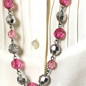 Vtg Pink Silver and Clear Beaded Necklace / Pretty Pink Beaded Chain Necklace / Round Faceted Beads / Girly Barbie Princess Costume Jewelry