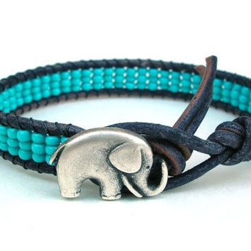 Elephant bracelet beaded leather wrap - Lucky Girl - Bohemian jewelry, stack, leather wrap, good luck charm, friendship