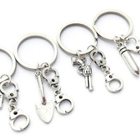 4 Best Friend Keyrings, Partner in Crime Keychains, Friendship Set, Christmas Gift for Sisters, Handcuff Keyrings, Get Out of Jail Free