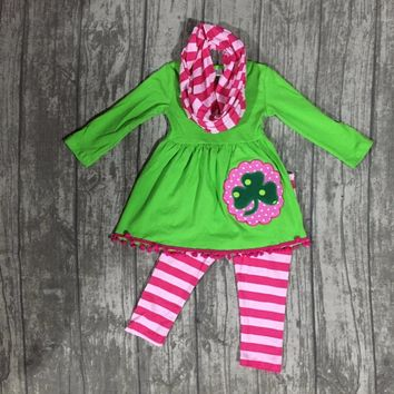 Girls St. Patrick's Day Clover Scarf Set