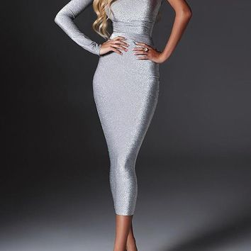 Silver Asymmetric Shoulder Long Sleeve Fashion Midi Dress