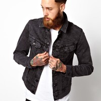 Lee Denim Jacket Slim Rider Moon Wash - Shock gray