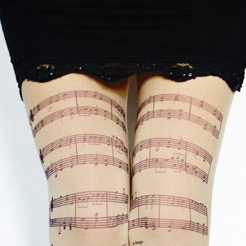 Musical Notes Tights,Music Clef Print Choir/Orchestra Leggings,Opaque Womens Pantyhose.