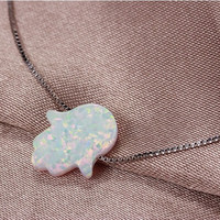 Lucky White Opal Hamsa Hand Silver Necklace