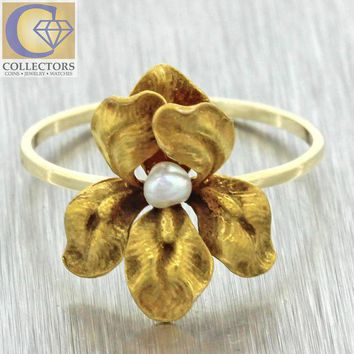 CREYUG7 1880s Antique Victorian 14k Solid Yellow Gold Pearl Stick Pin Conversion Ring