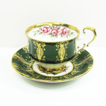 Vintage Paragon green and gold tea cup teacup and saucer with pink roses - By Appointment to Her Majesty the Queen