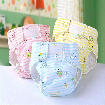 Washable Baby Cloth Diaper Cover Waterproof Cartoon Bebe Nappies Baby Diapers Reusable Cloth Nappy Suit 0-18Months
