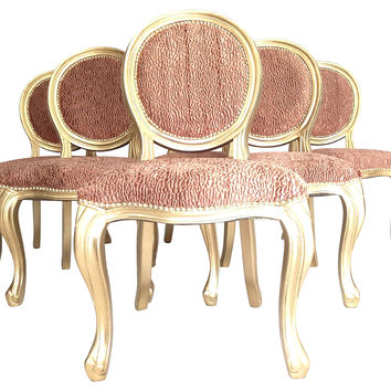 Coral & Gold Dining Chairs, S/6