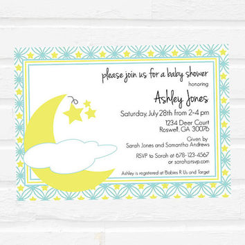 Baby Shower Invitation - Moon and Stars Baby Shower Invitation