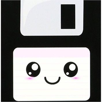 3dRose cst574533 Kawaii Cute Happy Floppy Disk Retro Computer Nerd Japanese Anime Smiley Cartoon with Pink Label Ceramic Tile Coaster Set of 4