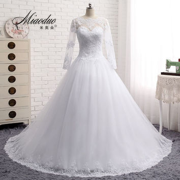 2016 Long Sleeve Wedding Dress vestidos de noiva Ball Gown Bridal Gown Luxurious Wedding Dress for Brides