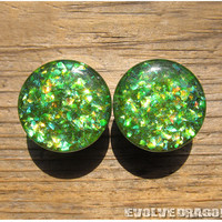 Lime Green Shard Plugs - 0g, 00g, 7/16, 1/2, 9/16, 5/8, 3/4, 7/8, 1 Inch