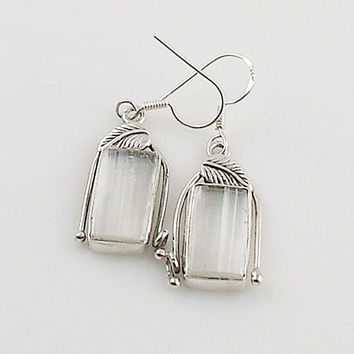 Selenite Vine Sterling Silver Earrings