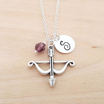 Bow & Arrow Necklace - Arrow Charm - Birthstone Necklace - Personalized Gift - Initial Necklace - Sterling Silver Jewelry - Gift for Her