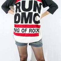 RUN DMC King Of Rock Hip Hop Punk Women Shirt Men Shirt Unisex Shirt 3/4 Long Sleeve Shirt Jersey Shirt Raglan Shirt Baseball T-Shirt Size M