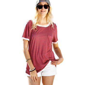 Short Sleeves Pocket detail Stripe with layered Top, Red