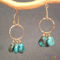 "Turquoise on hammered circles, 1-1/2"" Earring Gold Or Silver"