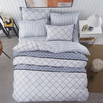 New spring bedding sets sweetheart style White grid tune duvet cover set Quilt cover bed sheet pillowcase 3/4pcs Queen King Twin