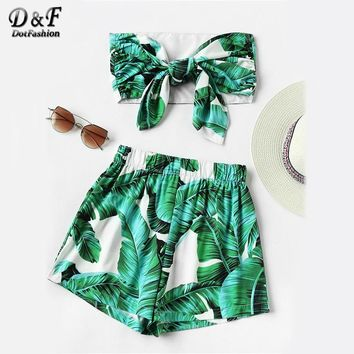 Green Leaf Print Random Bow Tie Crop Bandeau Tops With Shorts Summer Strapless Sleeveless Sexy 2 Piece Sets