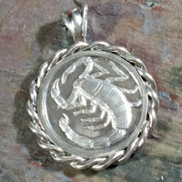 Sterling Silver Scorpio Scorpion October Birthday November Round Pendant Coin Silver Loyal Compassionate Competitive Unisex Man Woman Wear
