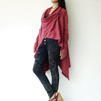NO.61 Dusty Red Cotton-Blend Versatility Cardigan
