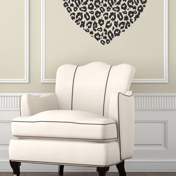 Wall Decal Vinyl Sticker Decals Art Decor Design Heart Leopard Print Love Family Gift Girl Kids Children Bedroom Dorm(r531)