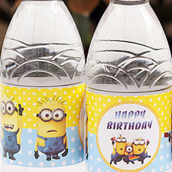 24pcs Minions Despicable Me Water Bottle Label Party Favor