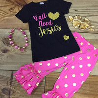 Infant Y'all Need Jesus Capri Outfit