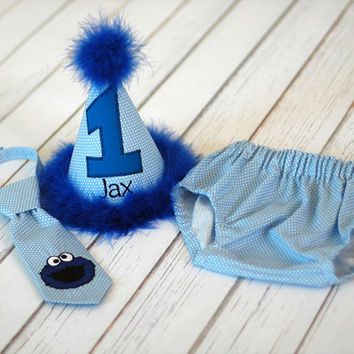 Boys Birthday Party Hat, Diaper Cover and Tie - Perfect for First Birthday, Smash Cake Pics, Photo Prop - Cookie Monster Blue