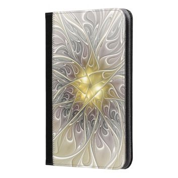 Flourish With Gold Modern Abstract Fractal Flower