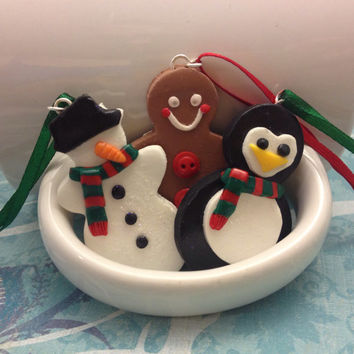 Polymer Clay Christmas Ornament, Snowman, Penguin, or Gingerbread Man