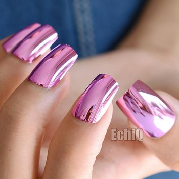 Long Square Press On Nails Rose Red Mirror Metal False Nails Beautiful Shining Sexy Design Nails Supplies N03
