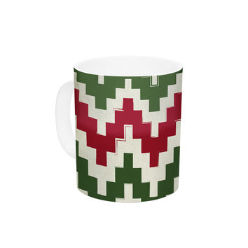 "KESS Original ""Christmas Gram"" Chevron Ceramic Coffee Mug"