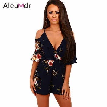 Aleumdr Sexy V-Neck Jumpsuit Multi Floral Ruffle Wrap Cold Shoulder Rompers Womens Jumpsuit Elegant Short Overalls LC64278