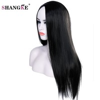 22 inch Long Straight Black Wig