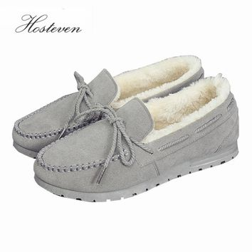 Women's Shoes Casual Plush Leather Flock Winter Shoes Ladies Driving Ballet Shoe Woman Loafers Female Flats Mother Footwear