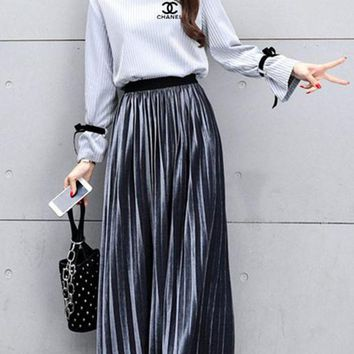 DCCKVQ8 Chanel' Temperament Simple Fashion Bandage Long Sleeve Tops Long Skirt Set Two-Piece