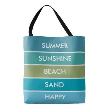 Summer, sunshine, happy, sand beach stripes tote bag