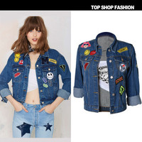2016 Trending Fashion Women Loose Jeans Long Sleeve Outerwear Jacket _ 1093