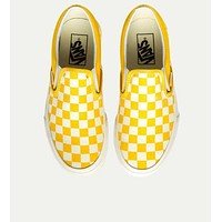 VANS Classic Trending Women Men Stylish Casual Yellow Black Checkerboard Pattern Canvas Flats Sneakers Sport Shoes I/A